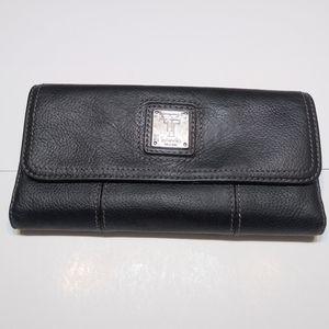 Tignanello black leather wallet, tri-fold.